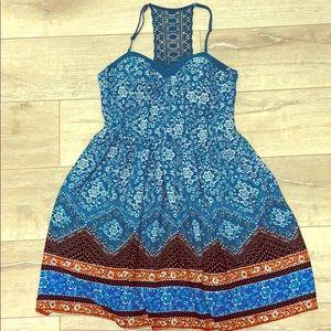 Boho Spaghetti Strap Dress Sz L